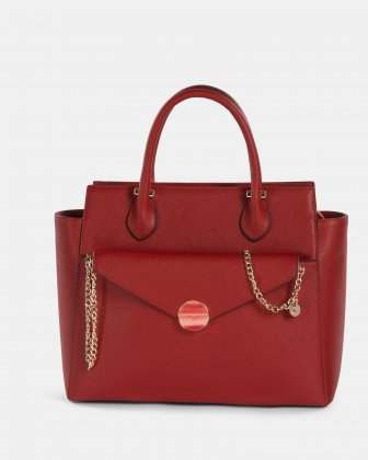 Grazioso - Satchel with Adjustable detachable strap and cluth - red Céline Dion