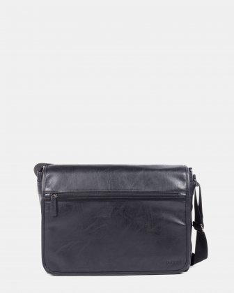 Valentino - messenger bag with flap in vegan leather for 15.6 in laptop - Black Bugatti