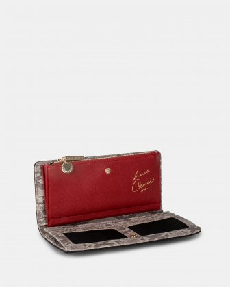 Grazioso - Long Wallet with central zippered section - Neutralsnake/red Céline Dion