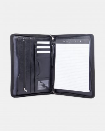 Bugatti - WRITING CASE with Zip around closure & Tablet compartment - Black - Bugatti