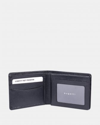 Bugatti - Leather Billfold wallet with RFID protection - black Bugatti