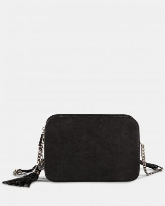 ELEGY - LEATHER CROSSBODY with Side pockets with magnetic closure - Black/Sand Céline Dion