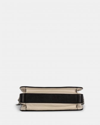 ELEGY - LEATHER CROSSBODY with Side pockets with magnetic closure - Black/Sand - Céline Dion