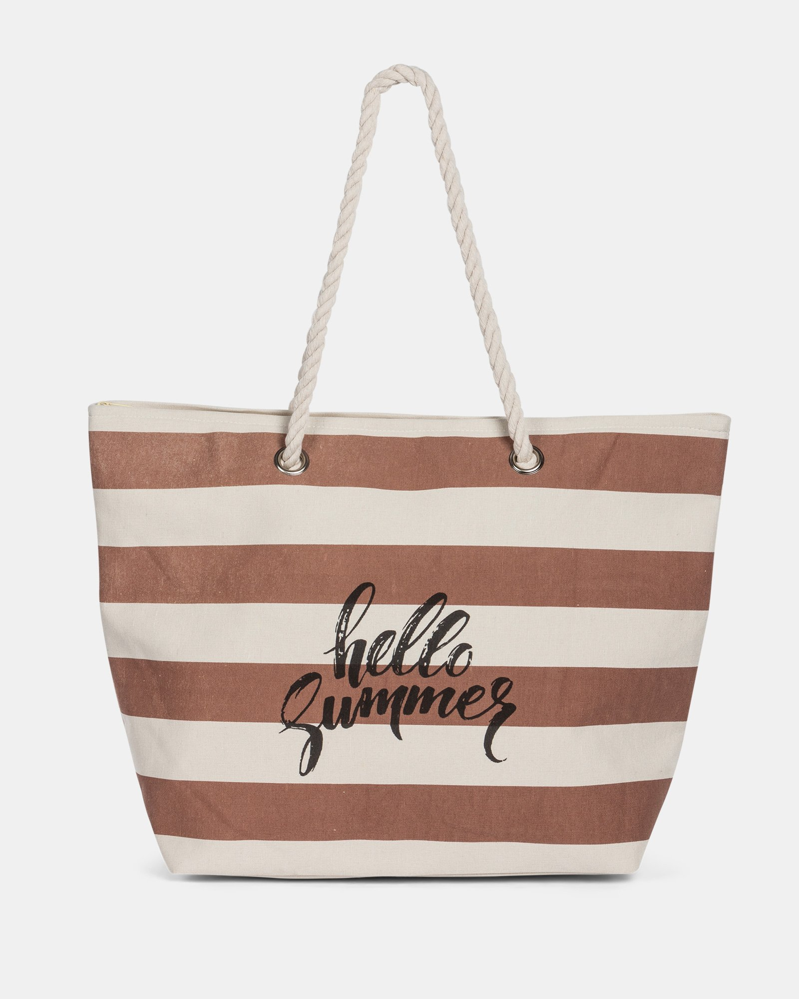 Aloha - Cotton Tote Bag with Main zippered compartment - Taupe combo - Joanel - Zoom
