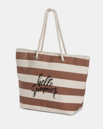 Aloha - Cotton Tote Bag with Main zippered compartment - Taupe combo Joanel