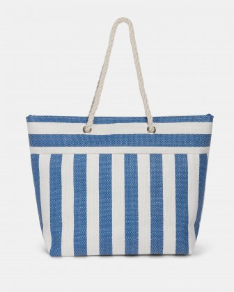 Aloha - Straw Tote Bag with Main zippered compartment - Navy combo Joanel