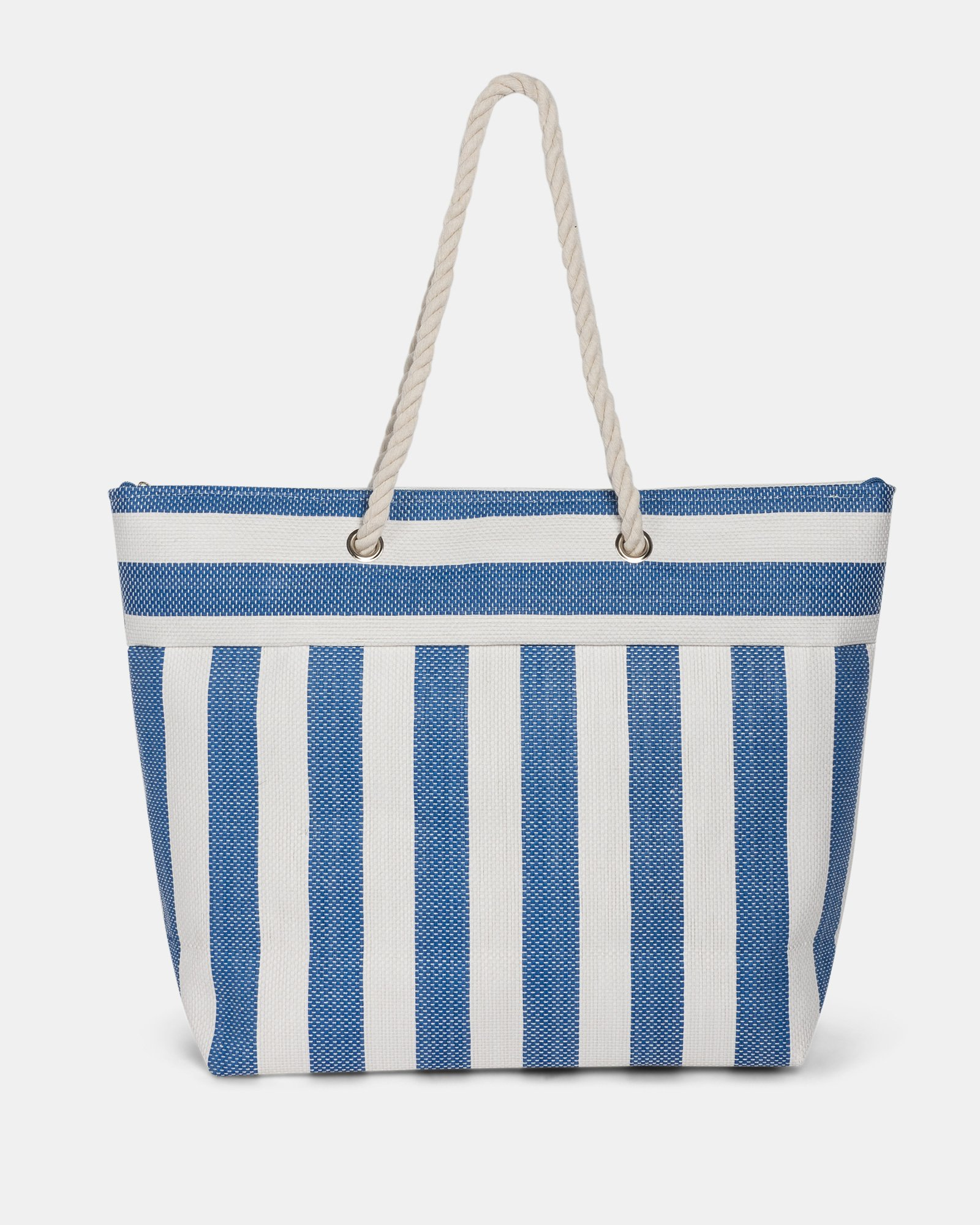 Aloha - Straw Tote Bag with Main zippered compartment - Navy combo - Joanel - Zoom