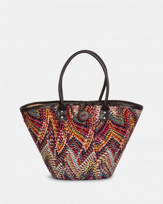 Aloha - Fabric & Straw Tote Bag with Wooden closure - red combo Joanel
