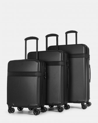 ROME - resistant ABS  Hardside 3-Piece Luggage Set with TSA lock - Black Bugatti