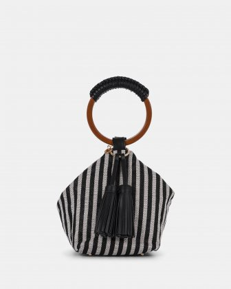 Libretto - Handle bag with multiple organizational pockets - Black/Stripe Céline Dion