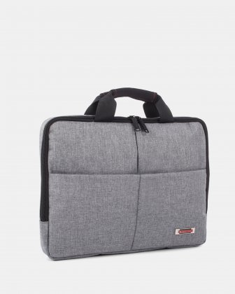 "Sterling - Slim Soft Briefcase for 15.6"" laptop & Tablet - Grey   - Swiss Mobility"