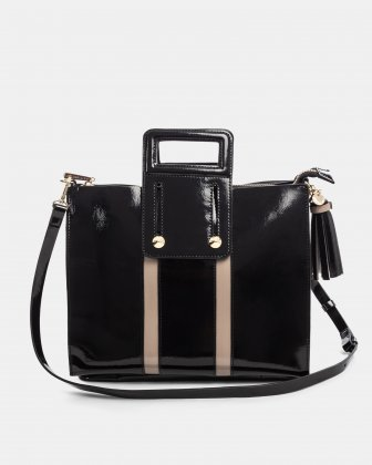 Brio - Satchel with middle top zip and magnet closure - Blackcombo Céline Dion