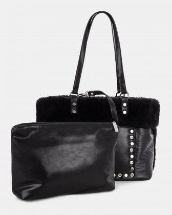 Cosy - Weekend Tote bag with Central zippered removable pouch - Black - Joanel