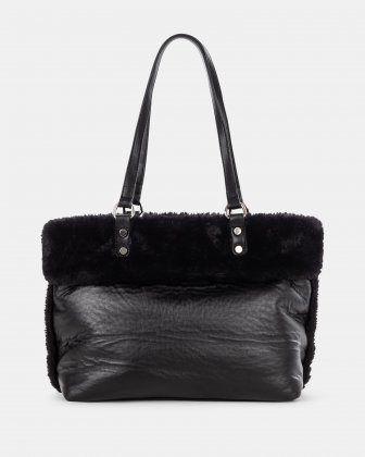 Cosy - Weekend Tote bag with Central zippered removable pouch - Black Joanel