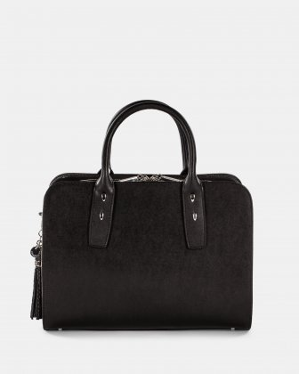 ELEGY - LEATHER SATCHEL with Side pockets with magnetic closure - Black/sand Céline Dion