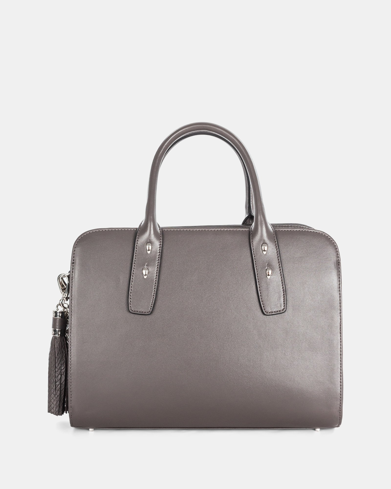 Elegy - LEATHER SATCHEL with Side pockets with magnetic closure - SmokeBrown - Céline Dion - Zoom