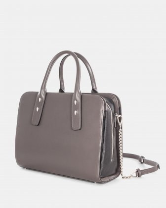 Elegy - LEATHER SATCHEL with Side pockets with magnetic closure - SmokeBrown - Céline Dion