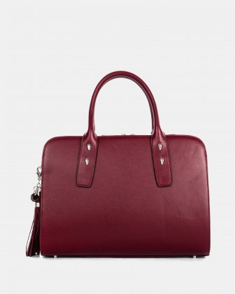 Elegy - LEATHER SATCHEL with Side pockets with magnetic closure - Wine/red Céline Dion