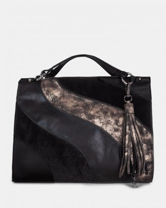 Haute Coco - Satchel with Main zippered compartment - Black multi Joanel