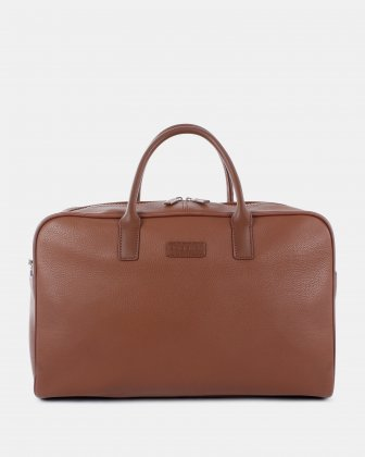 "HORIZON - Leather Duffle Bag with 14"" laptop compartment - Cognac Bugatti"
