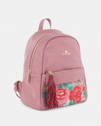 Harmonic - Soft leather with embroidery backpack - Pink Céline Dion