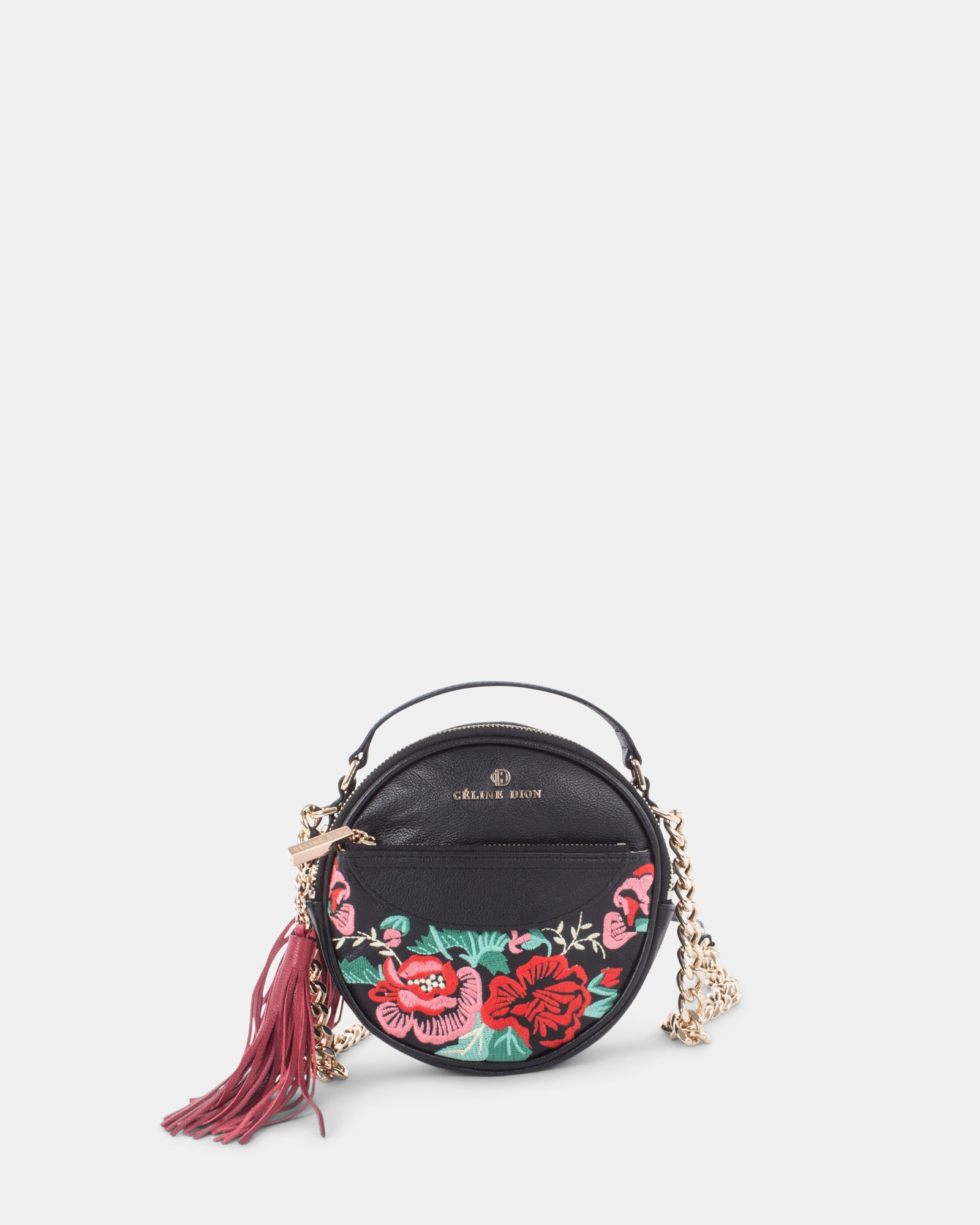 Harmonic - Round crossbody in Soft leather with embroidery - Black  - Céline Dion - Zoom