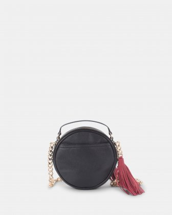 Harmonic - Round crossbody in Soft leather with embroidery - Black  - Céline Dion