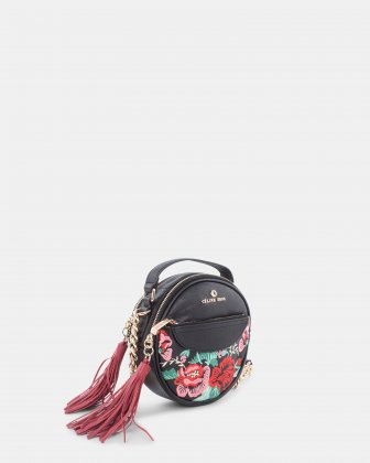 Harmonic - Round crossbody in Soft leather with embroidery - Black  Céline Dion
