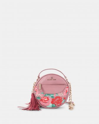 Harmonic - Round crossbody in Soft leather with embroidery - Pink Céline Dion