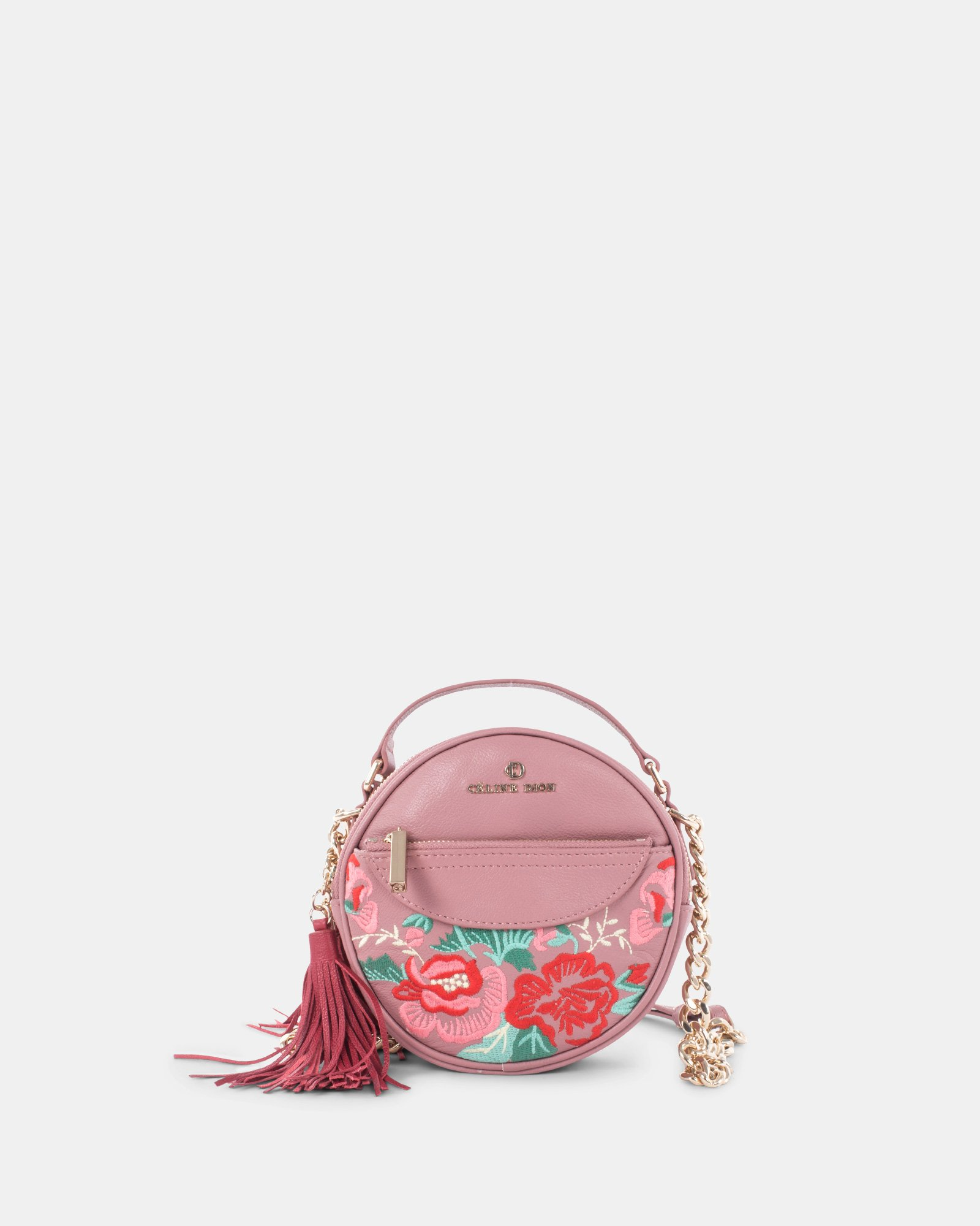 Harmonic - Round crossbody in Soft leather with embroidery - Pink - Céline Dion - Zoom