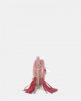Harmonic - Round crossbody in Soft leather with embroidery - Pink - Céline Dion