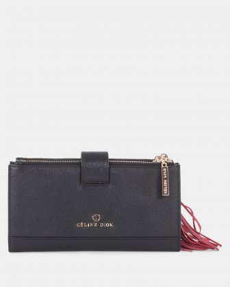 Harmonic - Soft leather with embroidery Wallet - Black Céline Dion