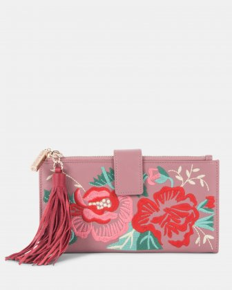 Harmonic - Soft leather with embroidery Wallet - Pink Céline Dion