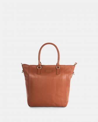"""HORIZON - Ladies leather BUSINESS TOTE with Padded laptop section for 14"""" - Cognac Bugatti"""
