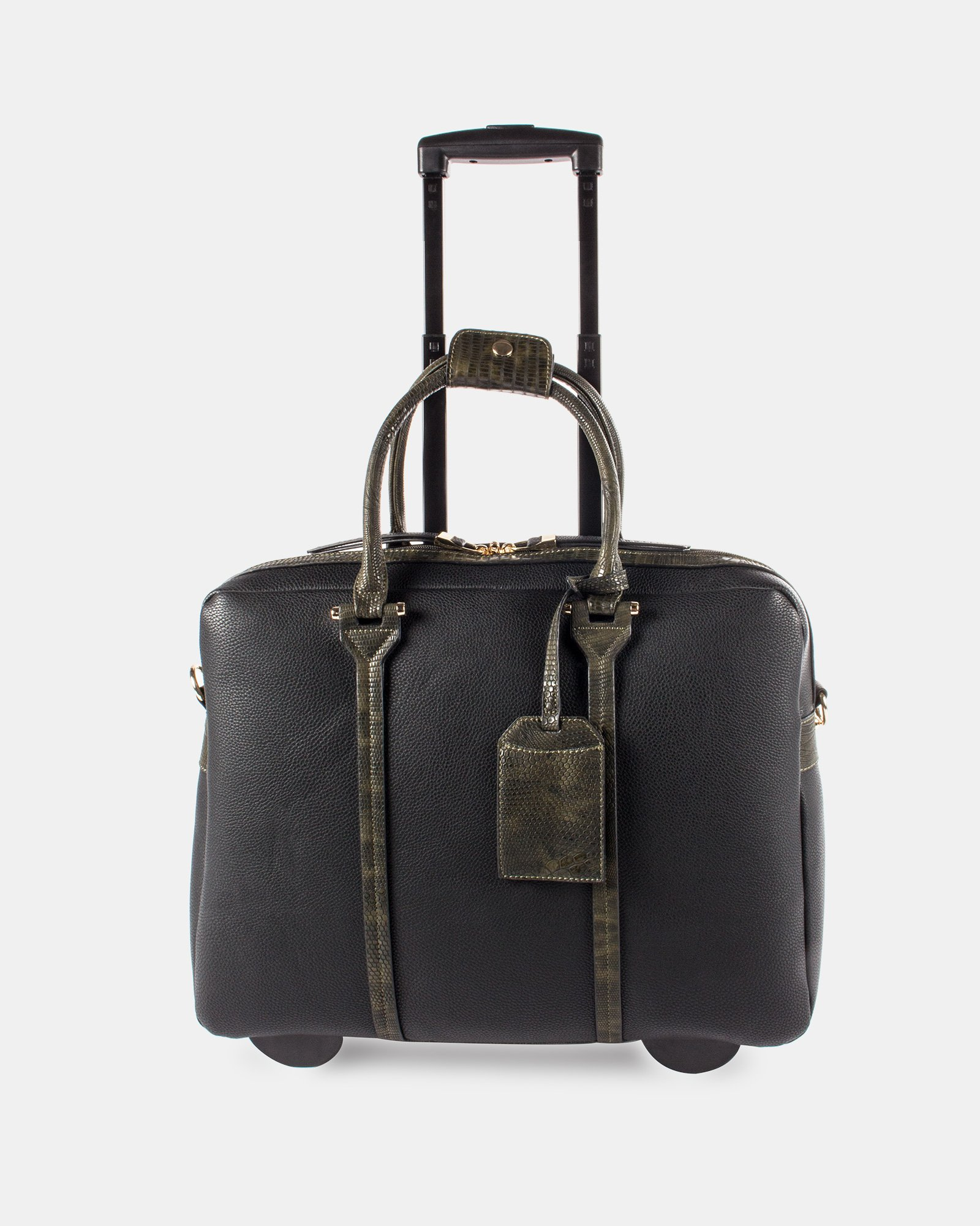 """COMO - LADIES Briefcase ON WHEELS WITH Padded laptop section for 17.3"""" - Black/GreenSnake - Bugatti - Zoom"""