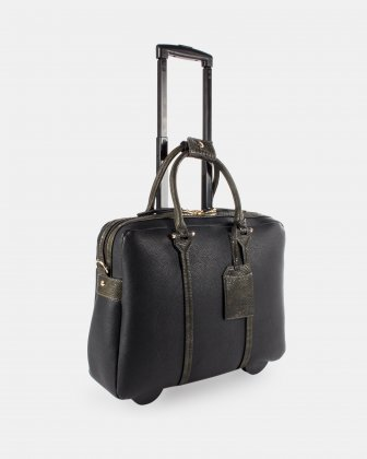 """COMO - LADIES Briefcase ON WHEELS WITH Padded laptop section for 17.3"""" - Black/GreenSnake - Bugatti"""