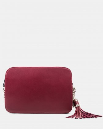 Elegy - Leather crossbody with Side pockets with magnetic closure - wine/red Céline Dion