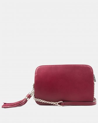 Elegy - Leather crossbody with Side pockets with magnetic closure - wine/red - Céline Dion