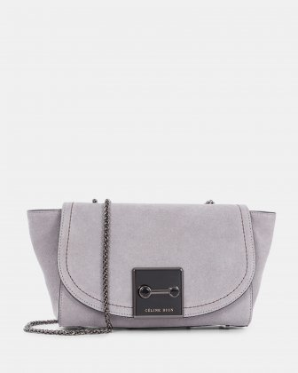 BAROQUE - Suede clutch with chain link crossbody strap - Grey Céline Dion