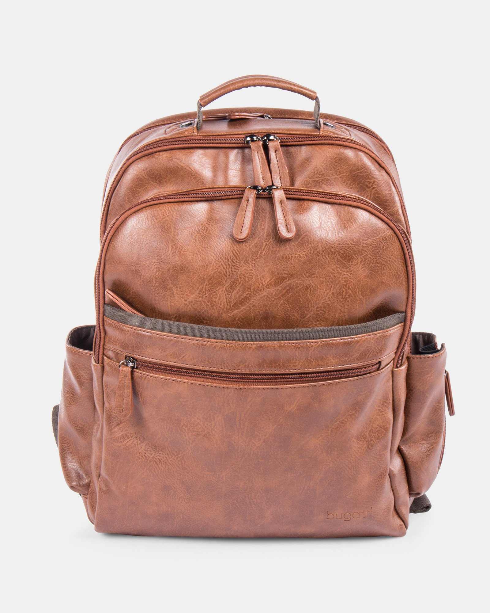 VALENTINO - BACKPACK FOR 15.6 IN LAPTOP AND RFID PROTECTION - COGNAC - Bugatti - Zoom