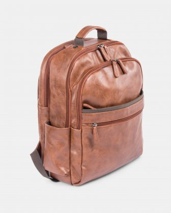 VALENTINO - BACKPACK FOR 15.6 IN LAPTOP AND RFID PROTECTION - COGNAC Bugatti