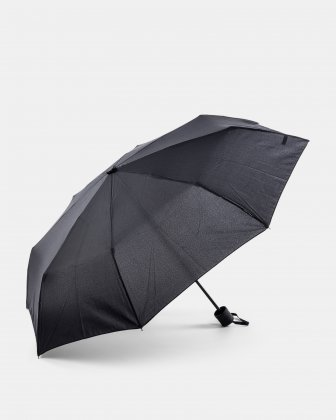 BONDSTREET - Small retractable manual umbrella in 3 sections - BLACK Bondstreet