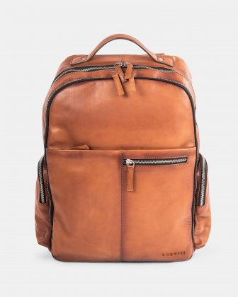 DOMUS 2.0 - LEATHER BACKPACK BAG FOR 14 IN LAPTOP - COGNAC - Bugatti