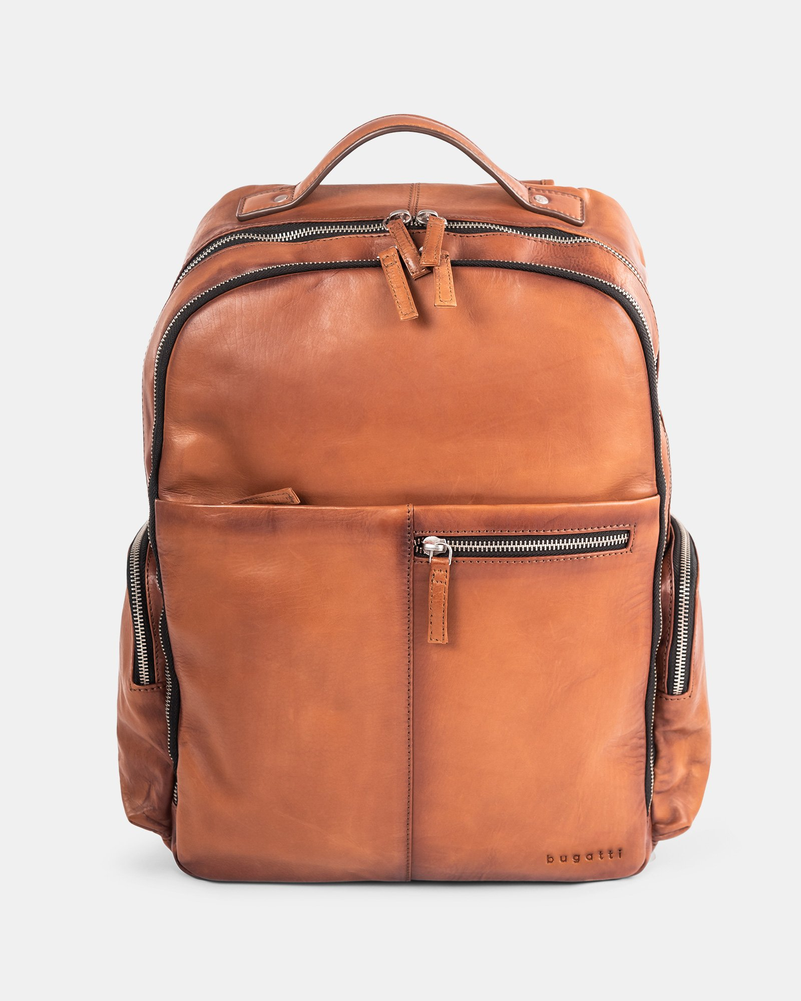 DOMUS 2.0 - LEATHER BACKPACK BAG FOR 14 IN LAPTOP - COGNAC - Bugatti - Zoom