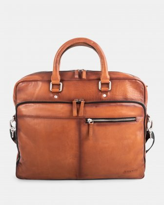 Bugatti DOMUS 2.0 - LEATHER BRIEFCASE BAG FOR 14 IN LAPTOP - COGNAC