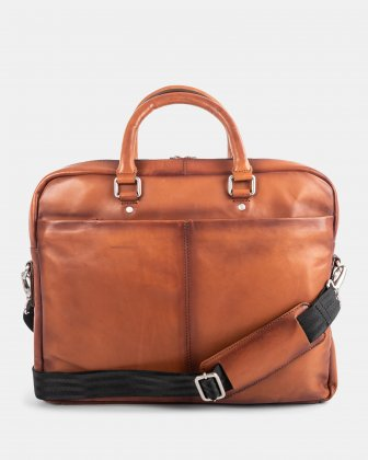 DOMUS 2.0 - LEATHER BRIEFCASE BAG FOR 14 IN LAPTOP - COGNAC - Bugatti