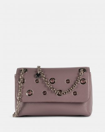 FALSETTO - LEATHER  FLAP CROSSBODY BAG with chain link strap - LAVENDER Céline Dion