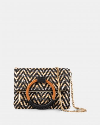 Piacevole - Crossbody bag Straw & leather-like trim - Black Céline Dion
