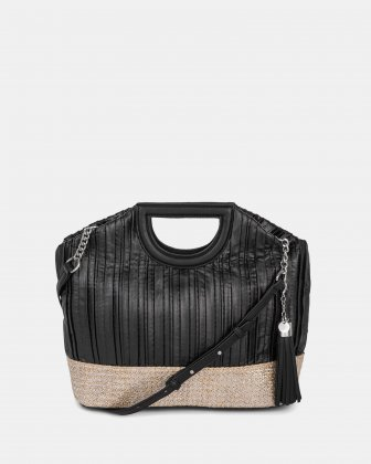 Carita - Handle bag in Canvas & straw trims with Protective baguette feet - Black Céline Dion
