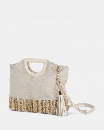 Carita - Handle bag in Canvas & straw trims with Protective baguette feet - Bone Céline Dion
